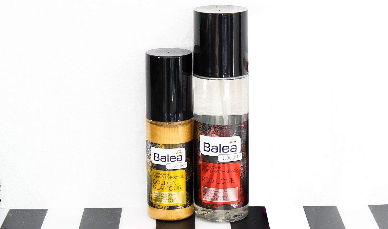 balea-luxury-schimmer-oil-bodyspray Neu von Balea Luxury - Bodyspray Red Love & Schimmer-Bodyoil Golden Glamour