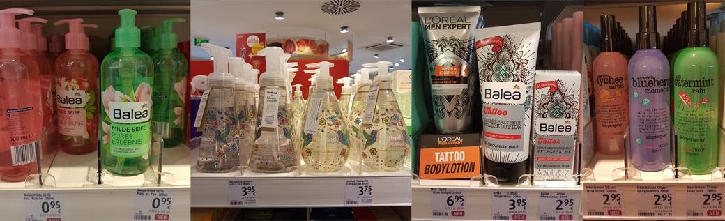 balea-milde-seife-tattoo-pflege-method-johanna-basfordtreaclemoon-koerperspray Neu bei dm | KW 09