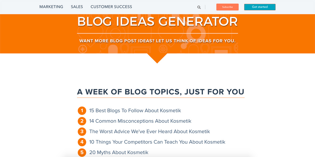 Blog topic generator von Hub spot