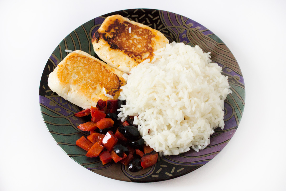 Halloumi mit Paprika und Reis