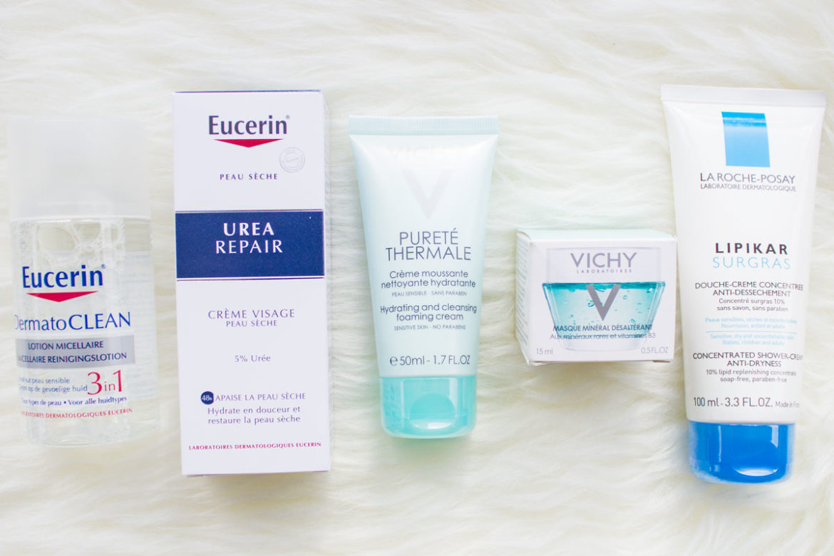 Eucerin DermatoCLEAN Mizellenwasser 3in1, Eucerin Urea Repair Creme, Vichy Pureté Thermale Hydrating Cleansing Forming Cream, Vichy Masque Minéral, La Roche Poay Concentrated Shower Cream